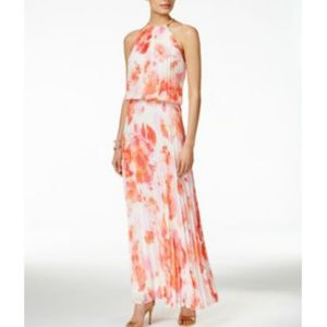 Pink/Ivory Floral Print Pleated Halter Maxi Dress